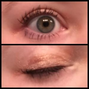 The eye shadow looks mess, but I quickly slapped it on there.